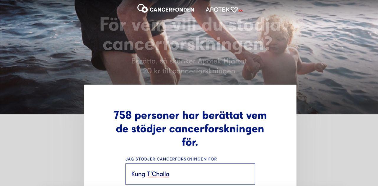 Skänk pengar till Cancerfonden helt gratis