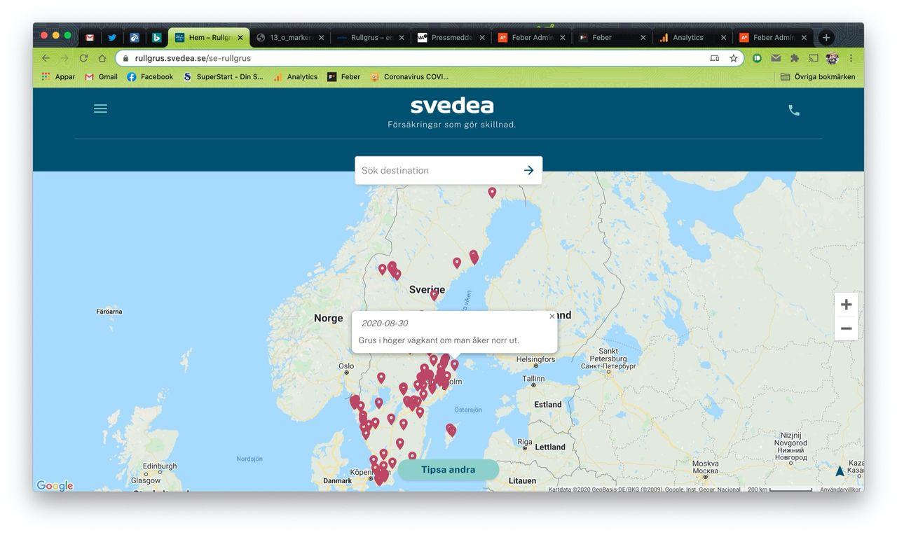 Svedea visar mc-förare om var det finns rullgrus