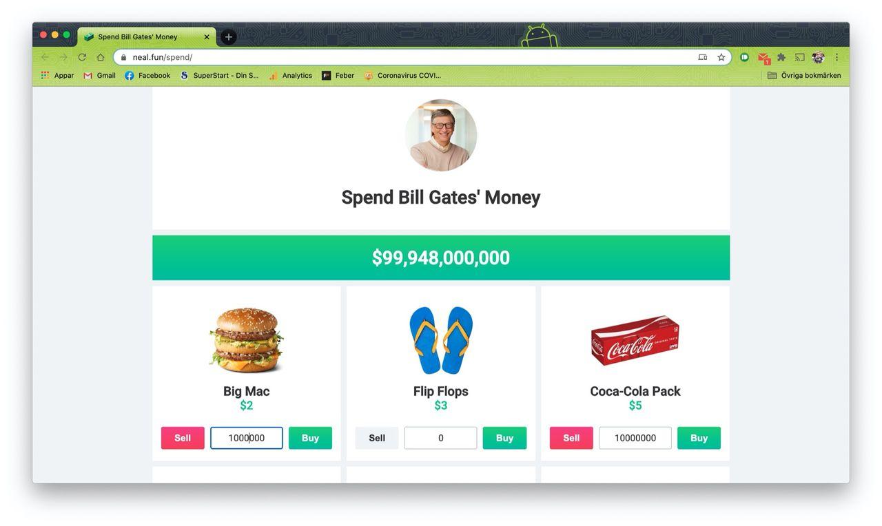 Nu finns spelet där du ska göra av med Bill Gates pengar