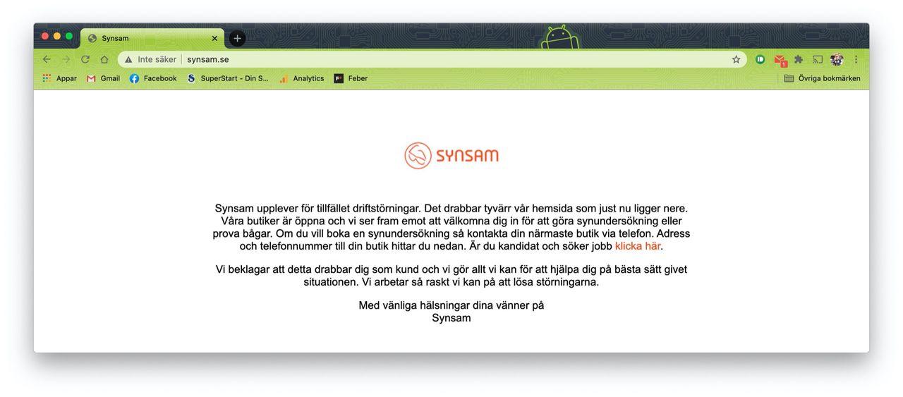 Synsams webb har varit nere i över en vecka