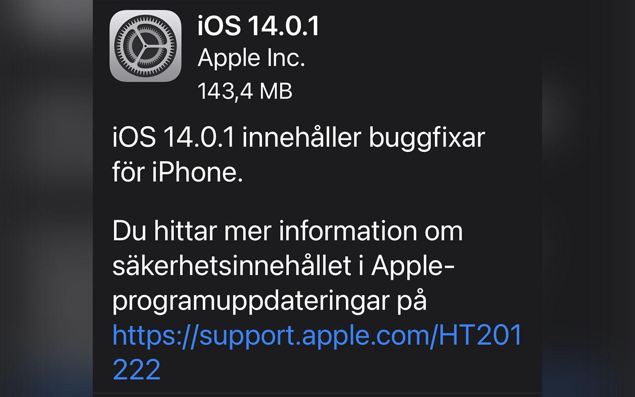 Apple släpper första uppdateringen till iOS 14