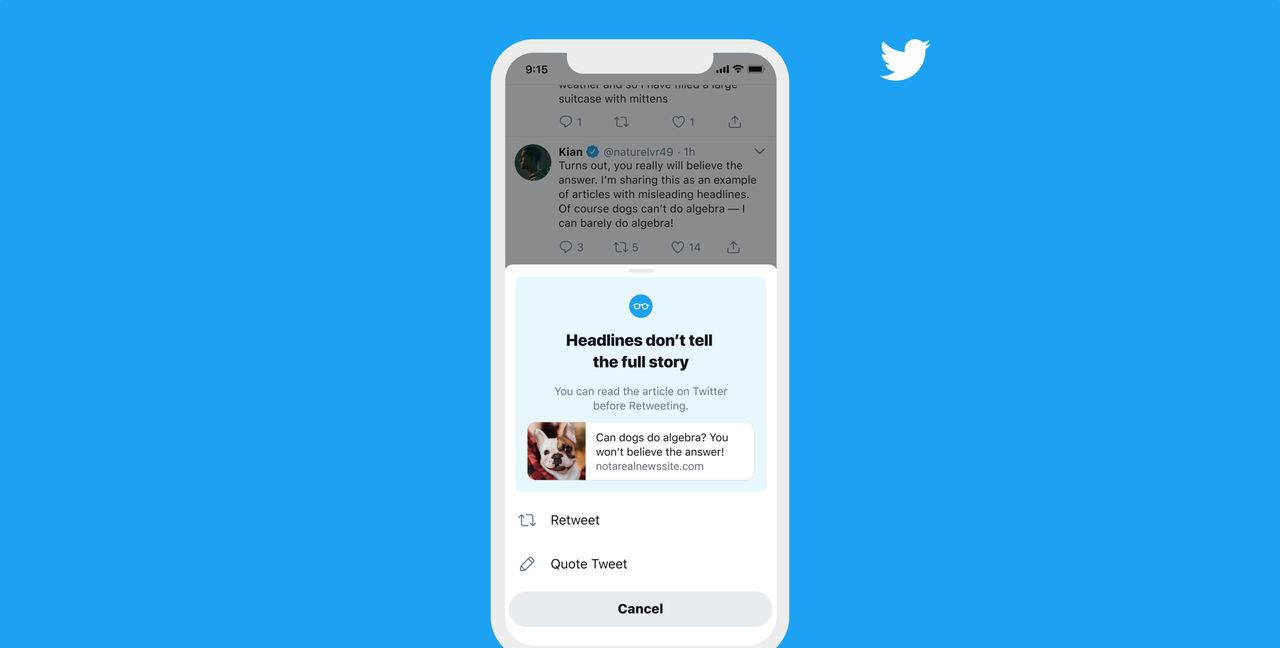 Twitter varnar snart vid delningar av artiklar