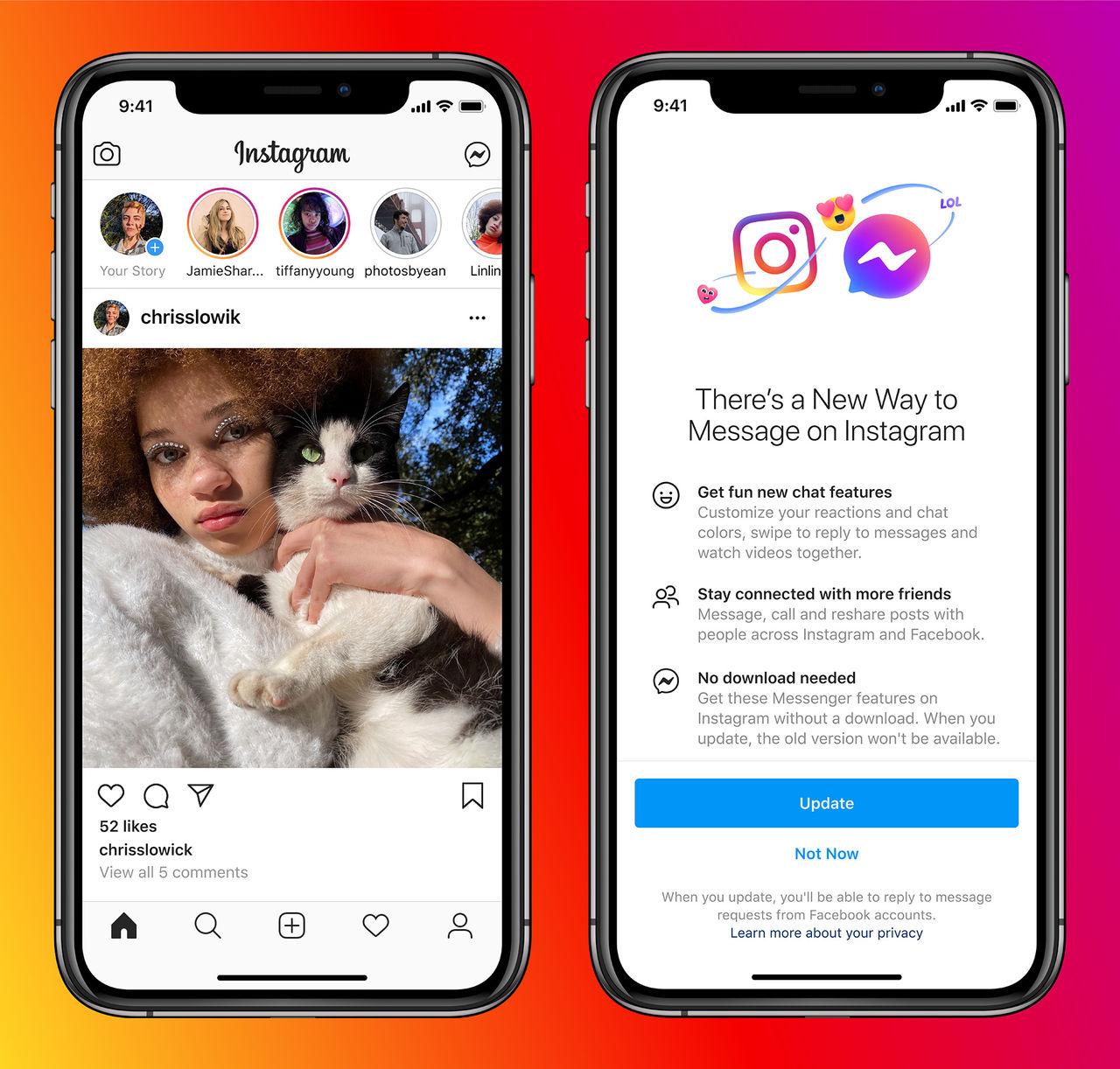 Facebook petar in Messenger i Instagram-chatten