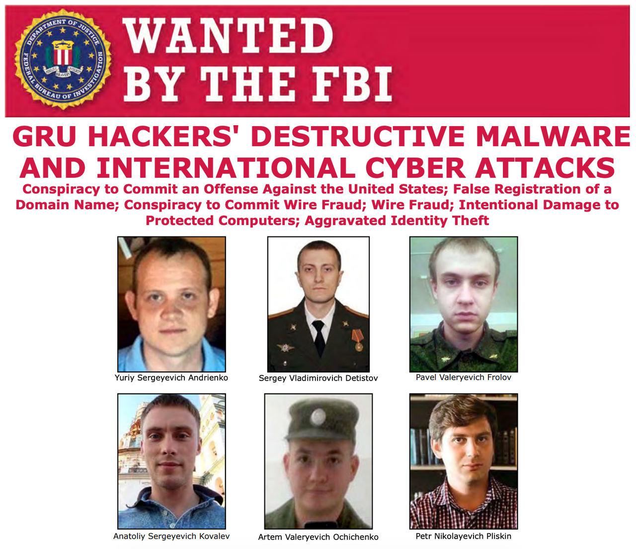 USA åtalar ryska militärer för cyberattacker runt om i världen