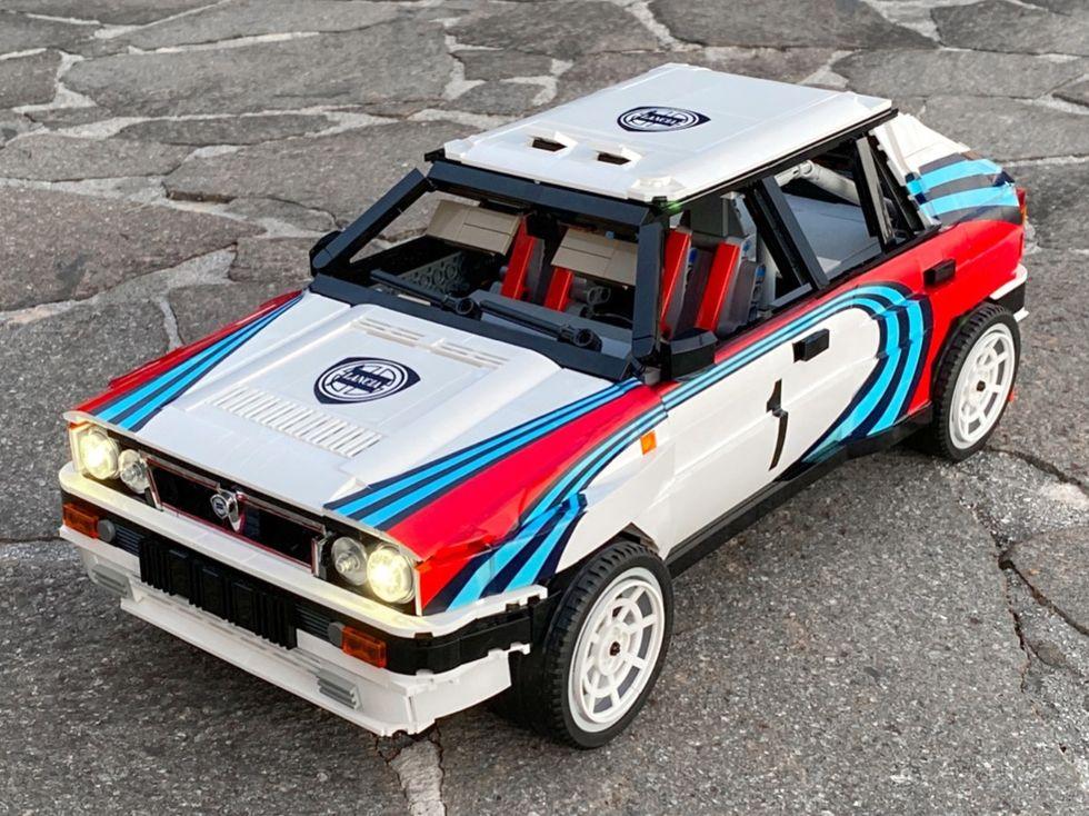Rallyversion av Lancia Delta Integrale i Lego