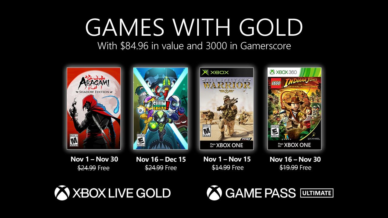 Microsoft listar novembers Games With Gold-spel