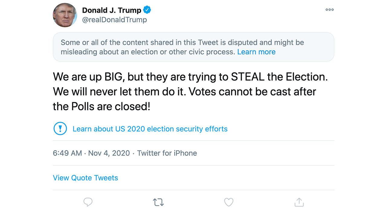 Facebook och Twitter satte ner foten mot inlägg från Trump