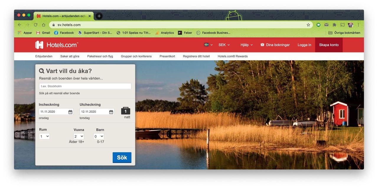 Data från Expedia och Hotels.com låg öppet på nätet