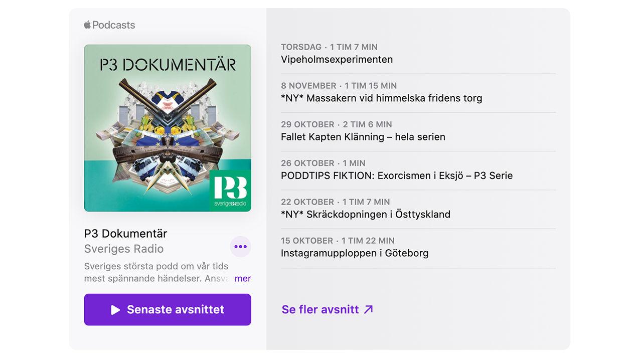 Nu går det att lägga in Apple Podcast på webbsidor