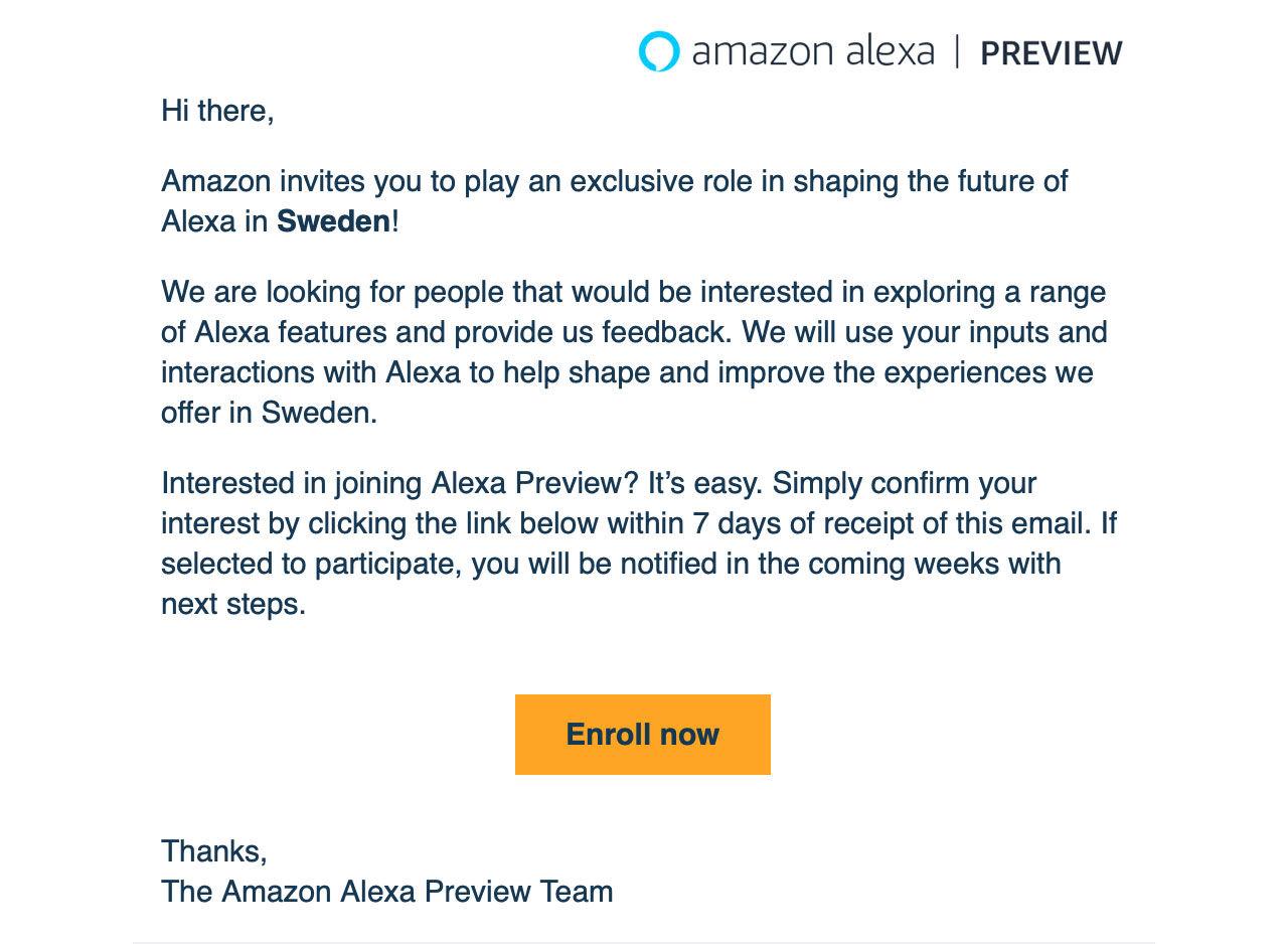 Alexa verkar vara på gång till Sverige!