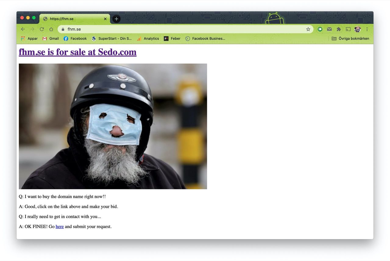 Domänen FHM.se säljs på auktion