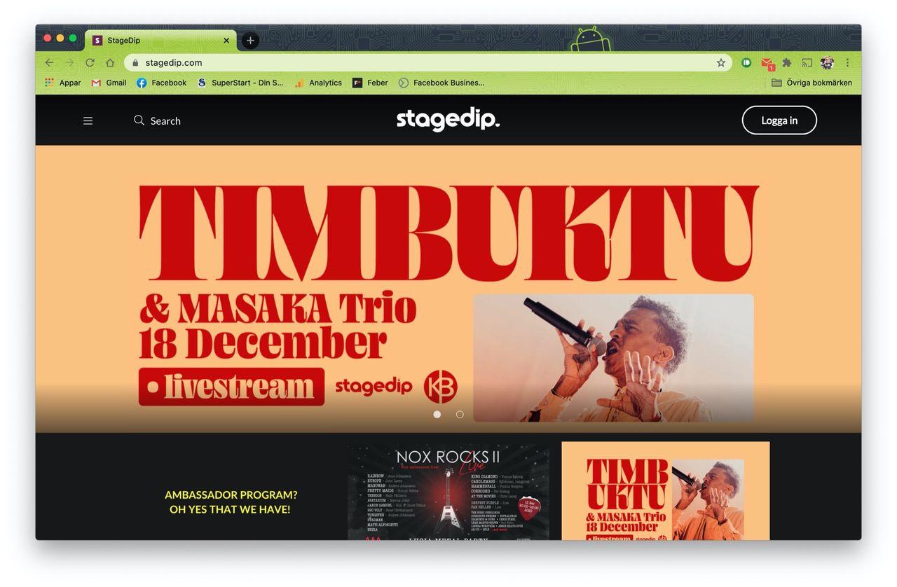 Timbuktu lanserar Stagedip