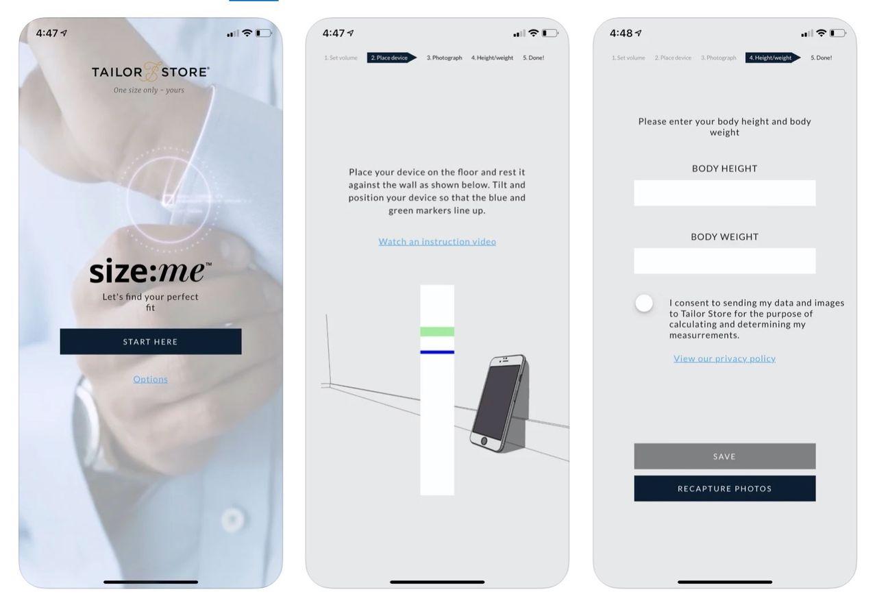 Tailor Store lanserar appen Size:Me som tar dina mått