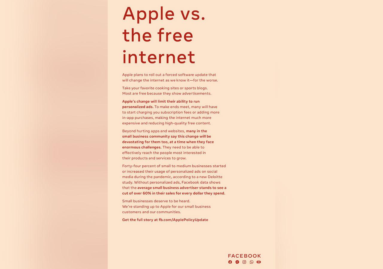 Facebook kör ännu en helsidesannons som kritiserar Apple