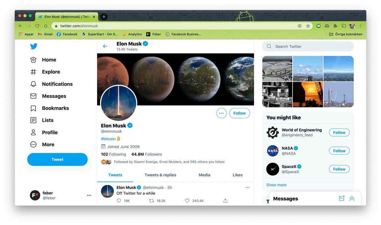 Elon Musk tar en paus från Twitter