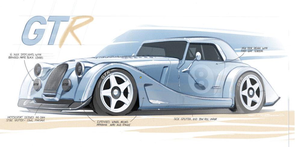 Morgan visar skisser på specialaren Plus 8 GTR