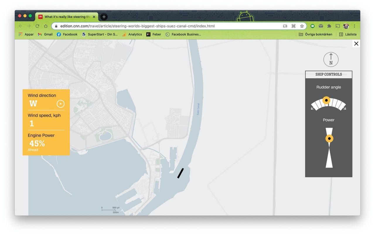 Testa att köra ett fartyg genom Suezkanalen