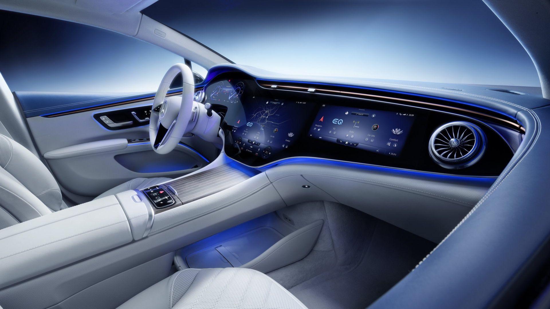 Det här är insidan på Mercedes EQS