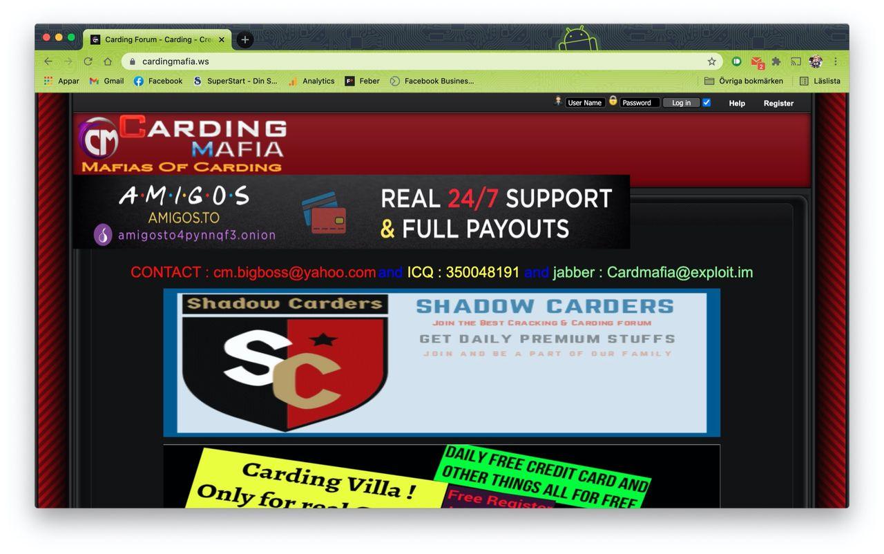Forum för kreditkortsbedragare hackade