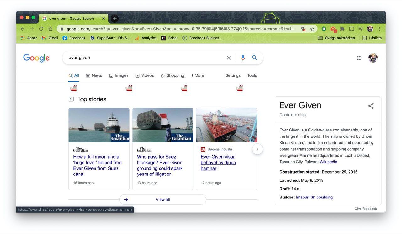 Google firar att Ever Given inte längre sitter fast