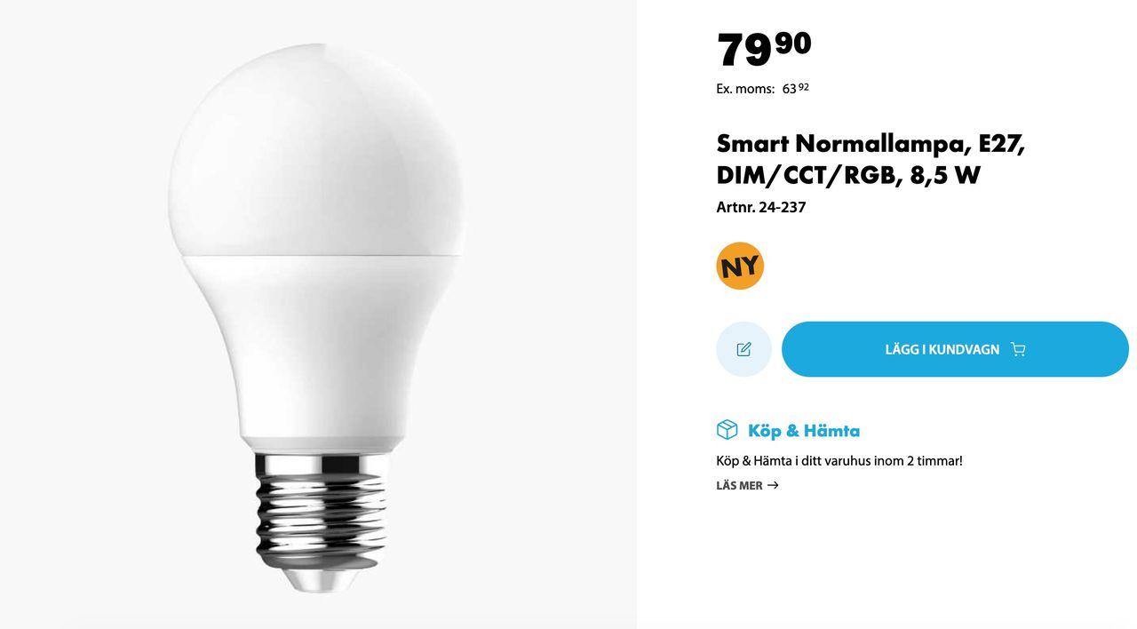 Biltema börjar sälja smarta lampor