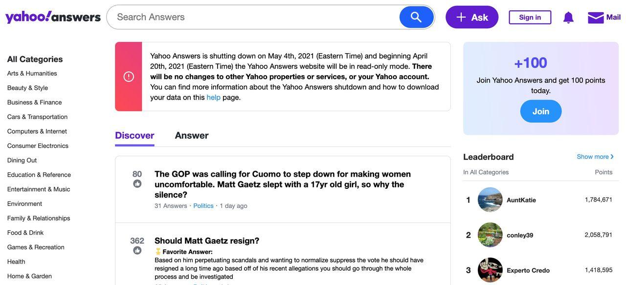Yahoo stänger ner Yahoo Answers