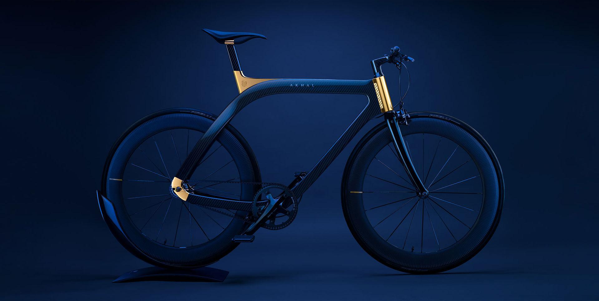 Flådig cykel i kolfiber och guld