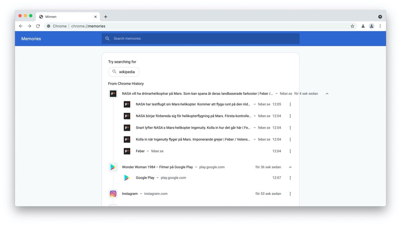 Chrome testar ny surfhistorik