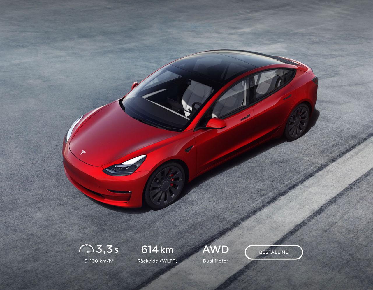 Tesla Model 3 får längre räckvidd