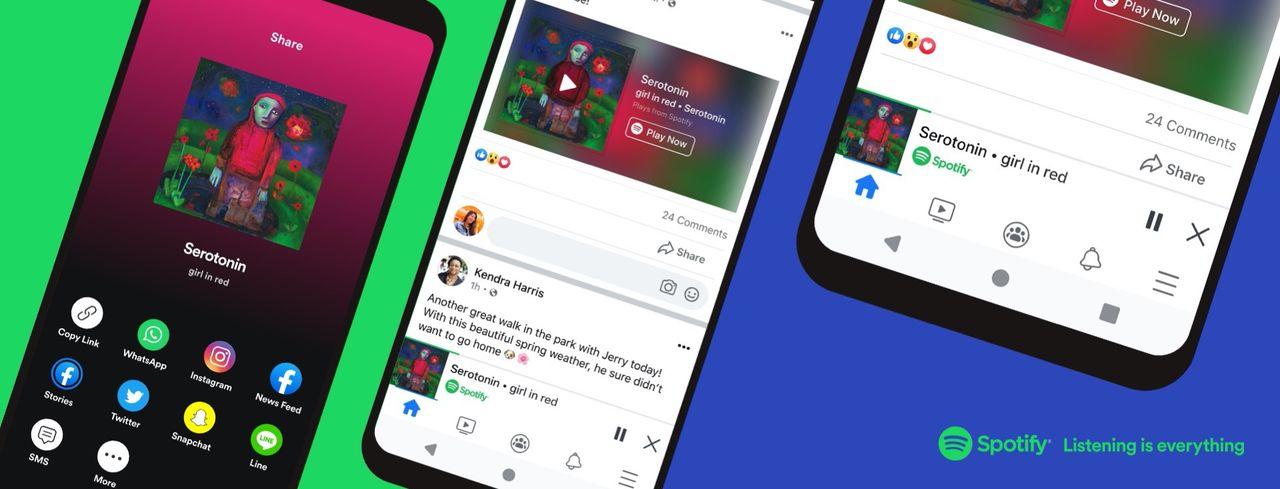 Spotify dyker upp i Facebooks appar
