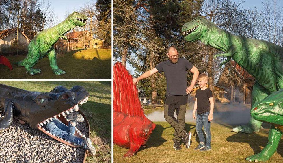 Köp ett gäng dinosaurier för trädgården