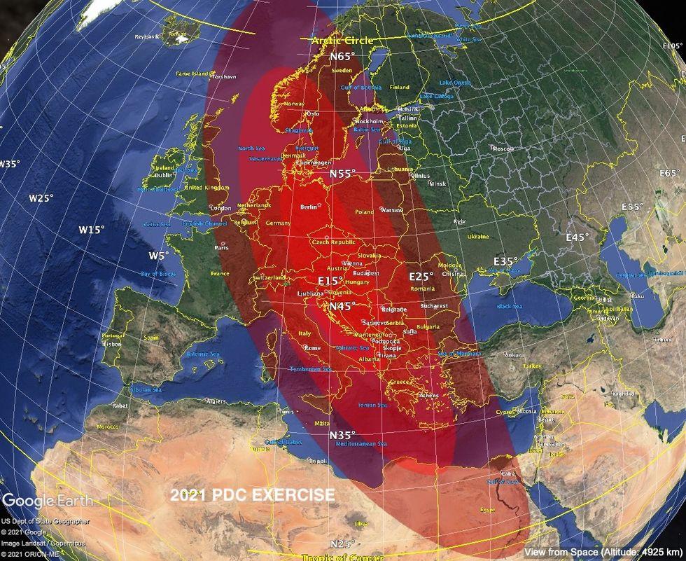Simulation där asteroid slår ner på jorden genomförd i veckan