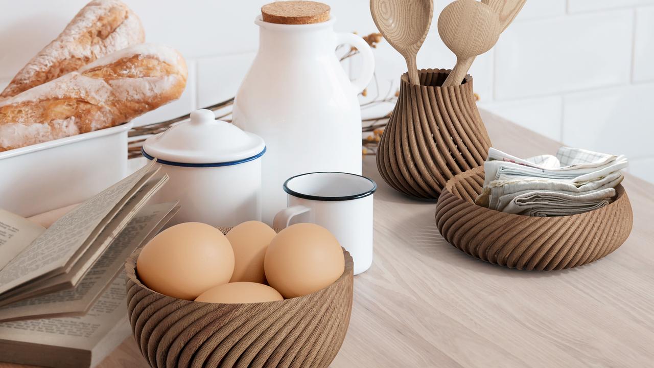 3D-skrivare skriver ut grejer i trä