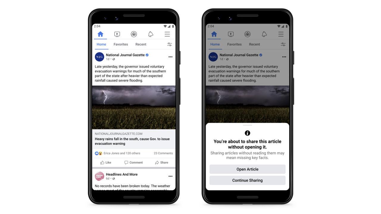 Facebook varnar snart vid delningar av artiklar