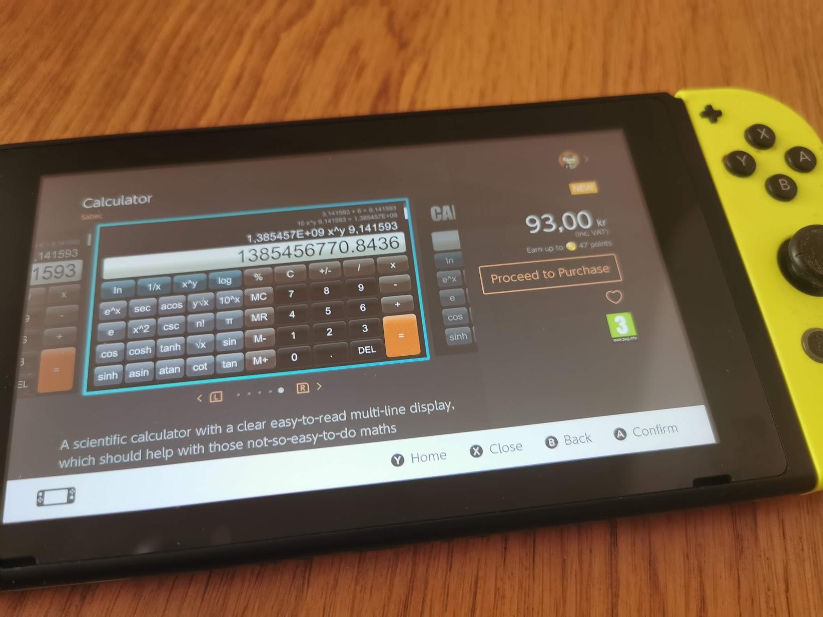 Nu kommer miniräknare till Nintendo Switch Men den kostar nästan en hundring