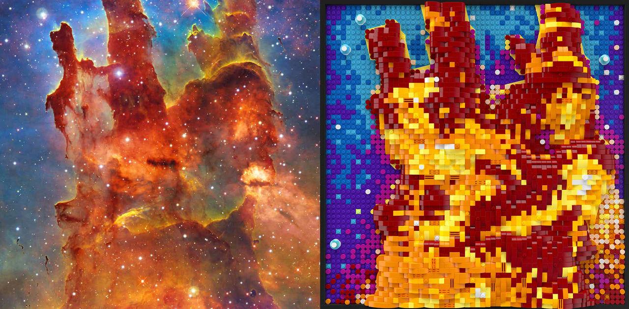 Lego gör konstverk av Hubble-teleskopets bilder