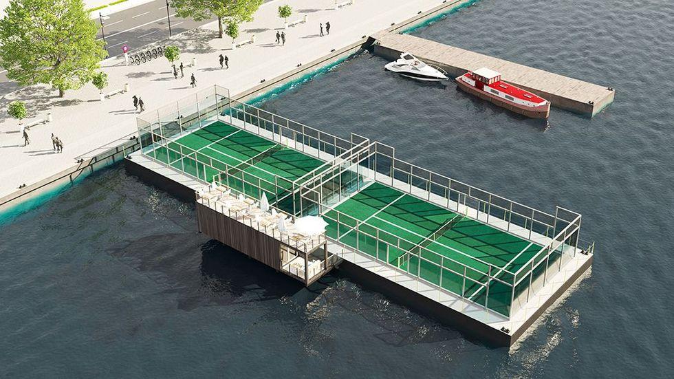 Flytande padelbanor byggs i Stockholm