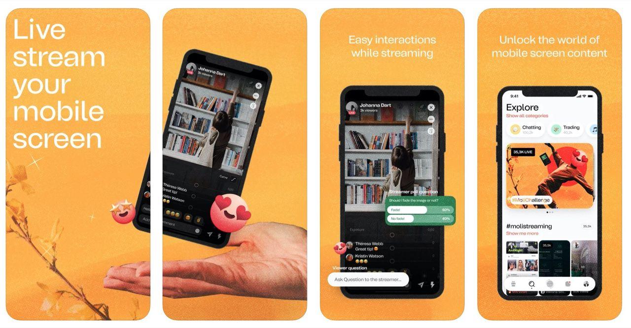 Moli är en sociala medie-app där du kan dela din skärm