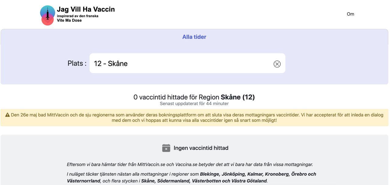 Jagvillhavaccin.nu hjälper dig hitta lediga vaccintider