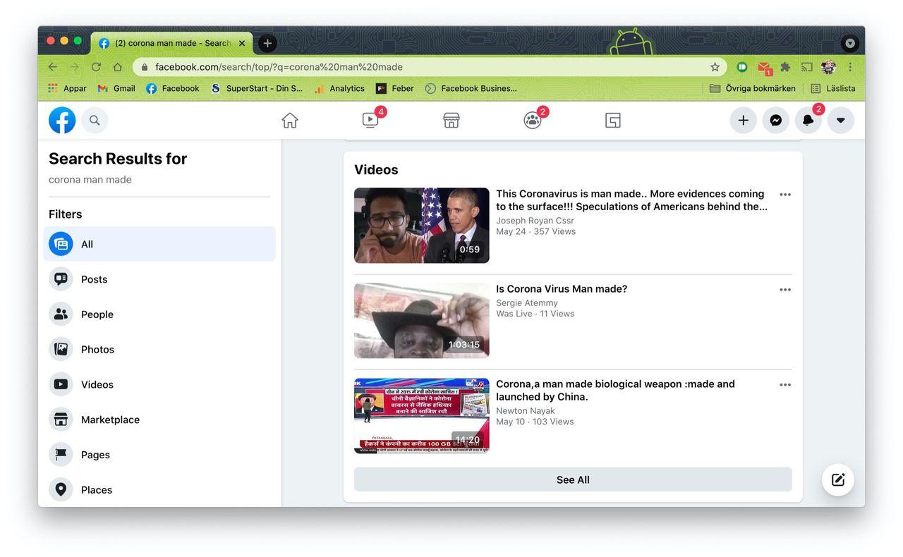 Facebook ändrar policy för inlägg om coronaviruset uppkomst