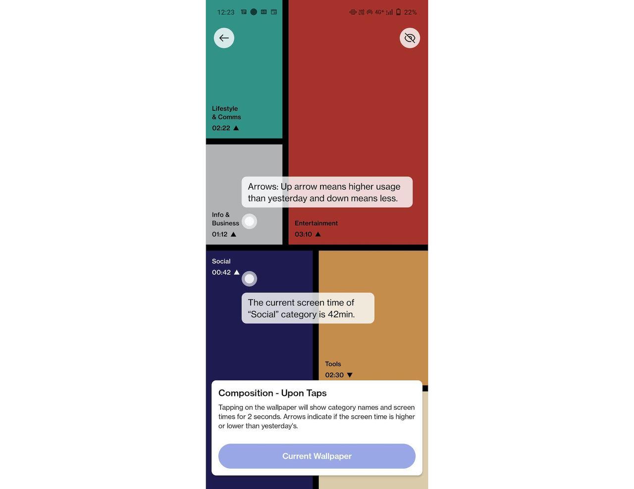 Interaktiv bakgrund visar hur du använder telefonen