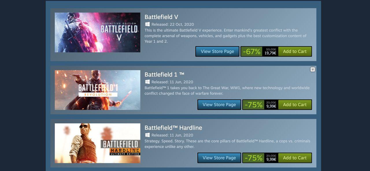 Battlefield-rea på Steam