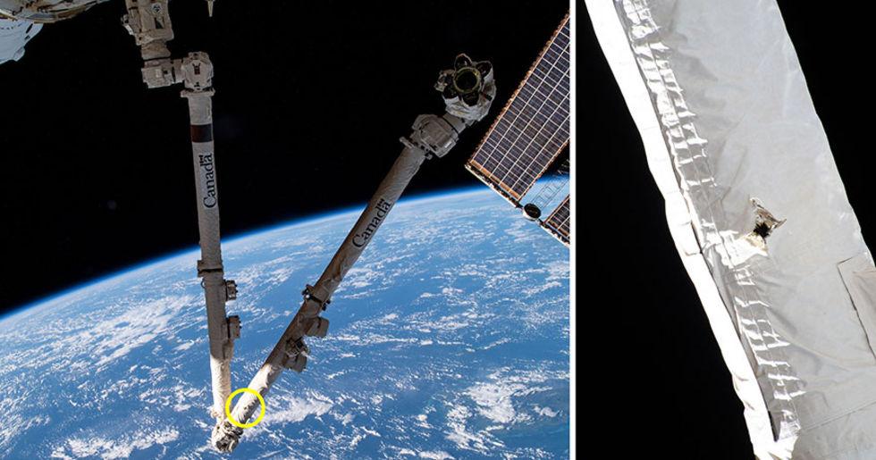 Rymdskrot kolliderade med viktigt instrument på ISS