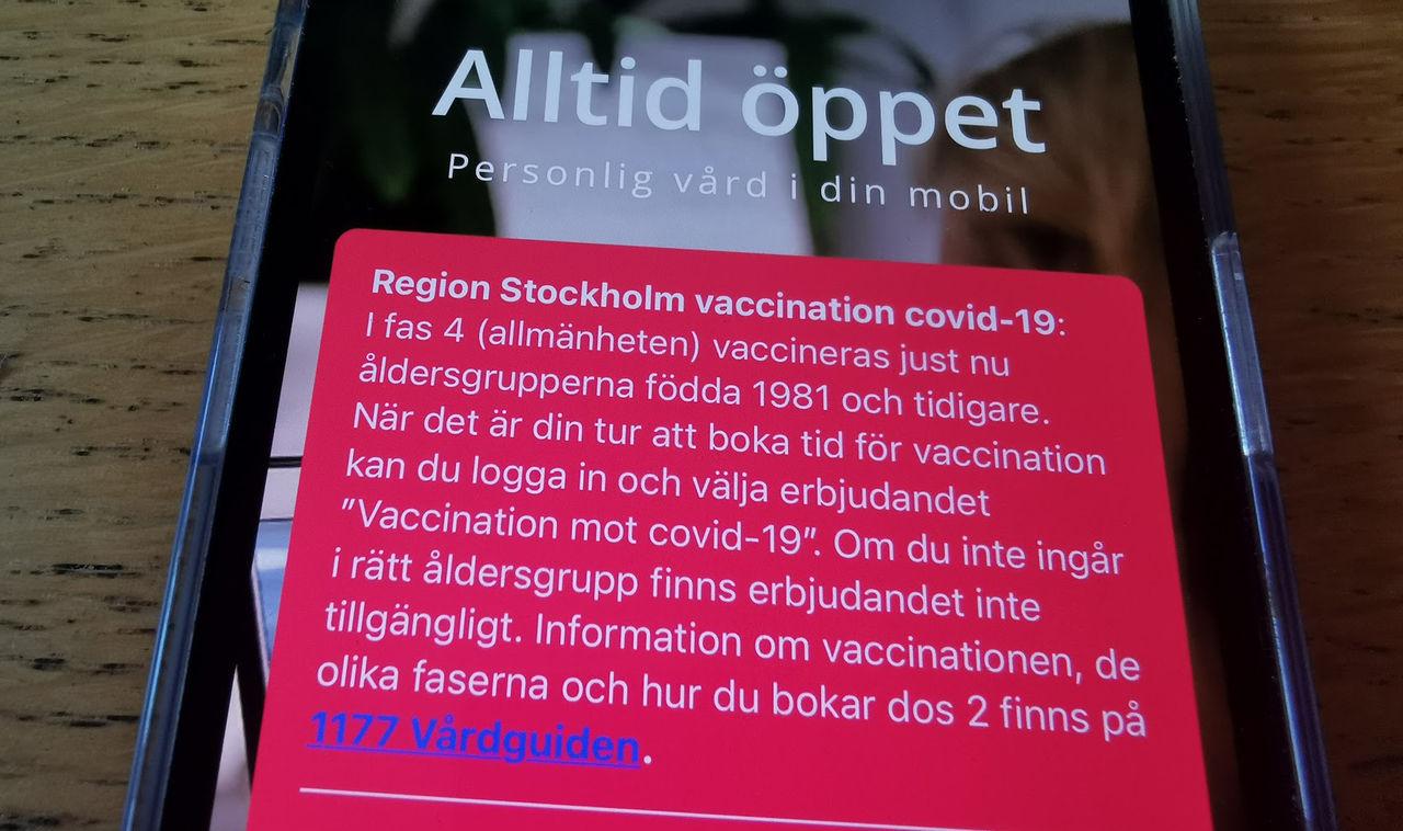 Nu kan alla över 40 år vaccinera sig i Stockholm