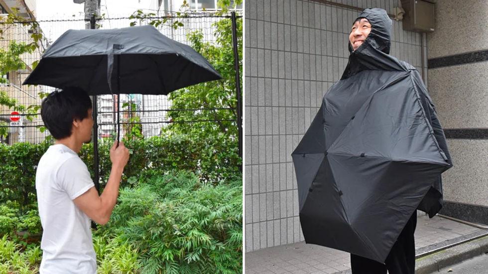 Ett paraply som du kan bära som poncho