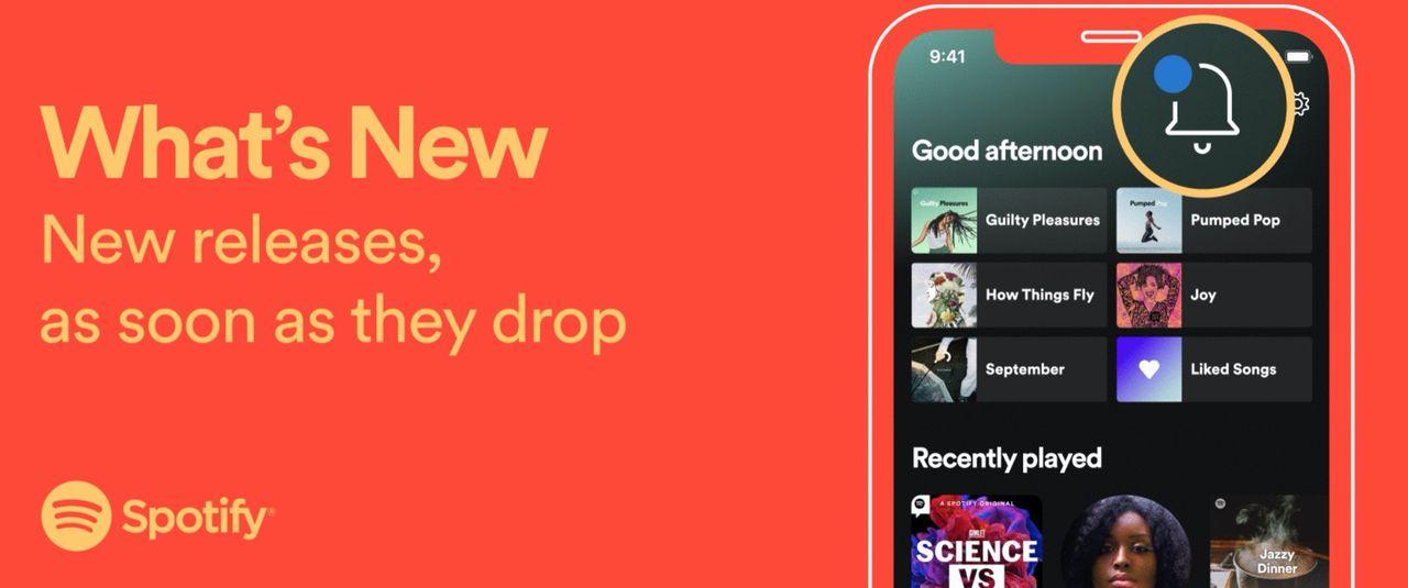 Spotify lanserar en sektion med nysläppta grejer
