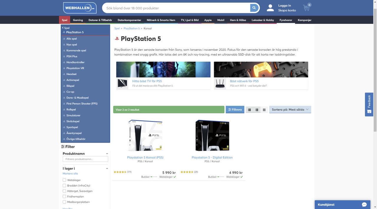 Webhallen har fått in PlayStation 5-konsoler