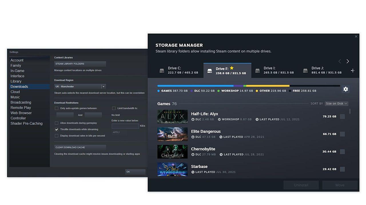 Steam uppdaterar lagringshanteraren en skvätt