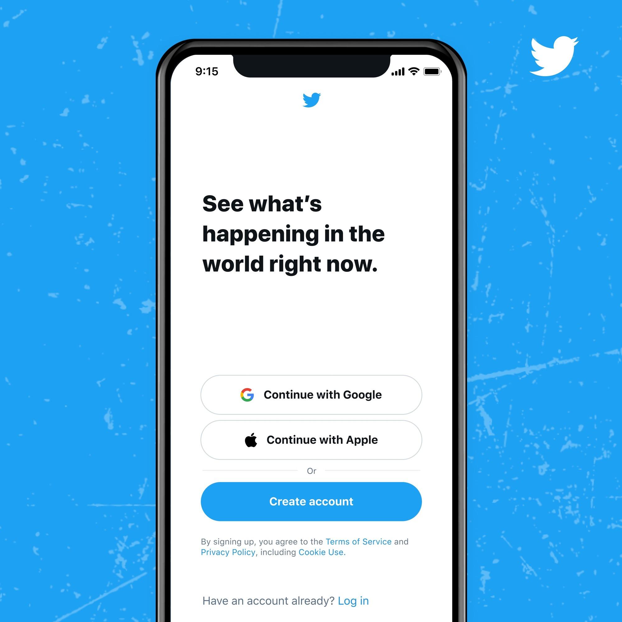 Logga in på Twitter med ditt Google- eller Apple-konto Det blir enklare att börja twittra