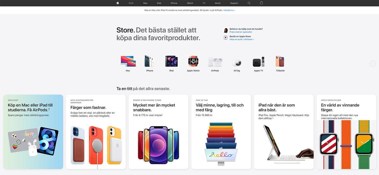 Apple överraskar med ny design på webbutiken